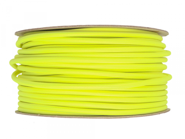 Neon Yellow Round Fabric Lighting Cable 3 Core