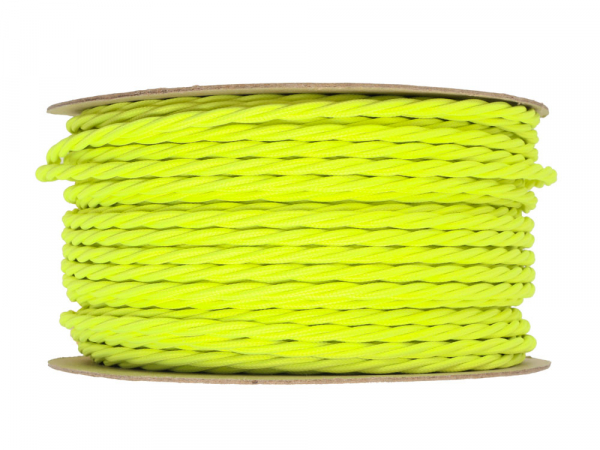 Neon Yellow Twisted Lighting Cable 3 Core