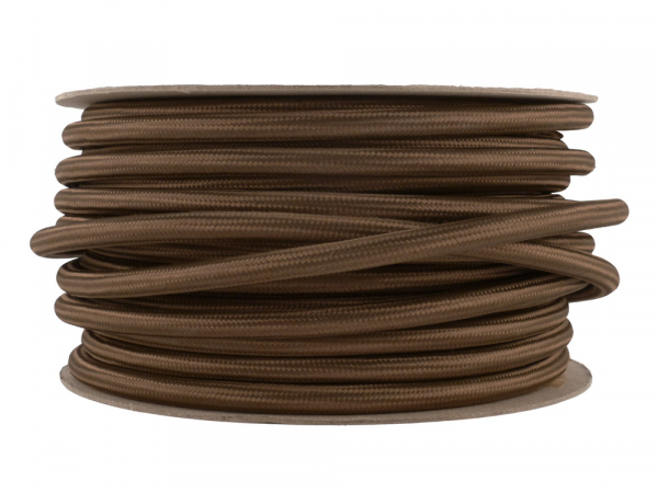 Olive Brown Fabric Power Cable 3 Core