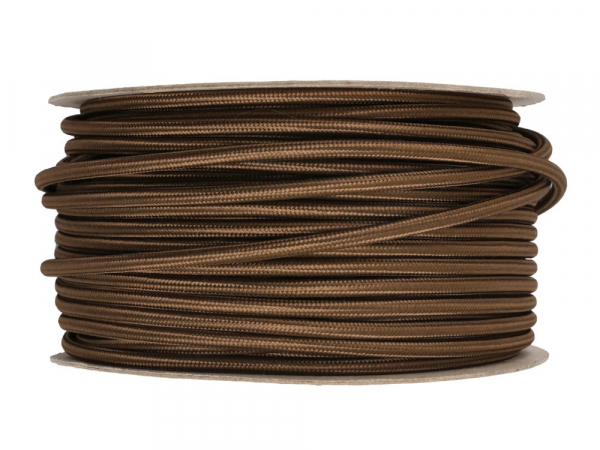 Olive Brown Round Fabric Lighting Cable 3 Core