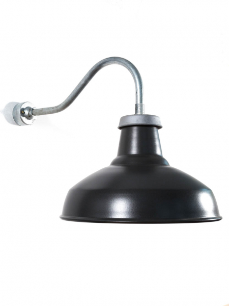 Industrial Outdoor Wall Light | Long Swan Neck | Matt Black