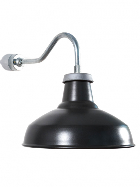 Industrial Outdoor Wall Light | Medium Swan Neck | Matt Black