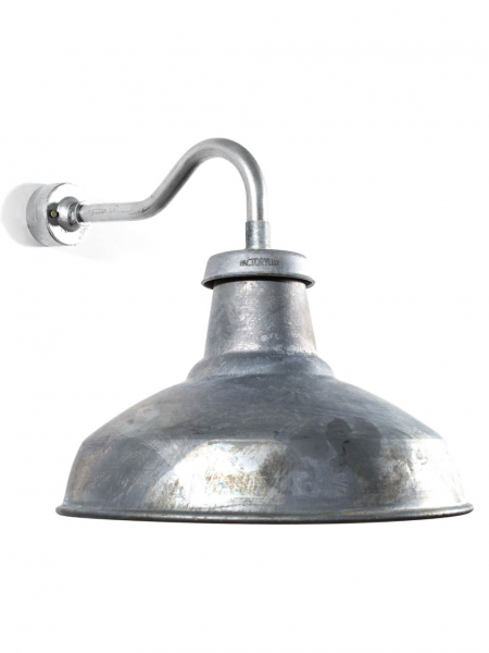 Industrial Outdoor Wall Light | Short Swan Neck | Galvanised
