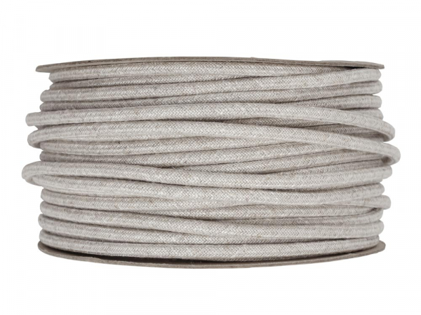 Pale Linen Round Fabric Lighting Cable 3 Core