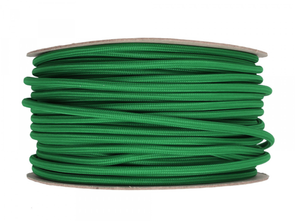 Pea Green Round Fabric Lighting Cable 3 Core