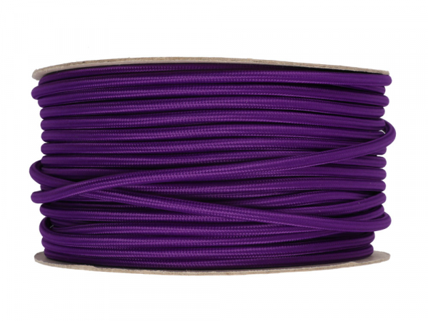 Purple Round Fabric Lighting Cable 3 Core