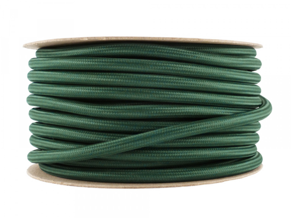 Racing Green Fabric Power Cable 3 Core