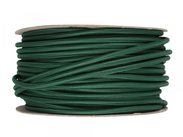 Racing Green Round Fabric Lighting Cable 3 Core