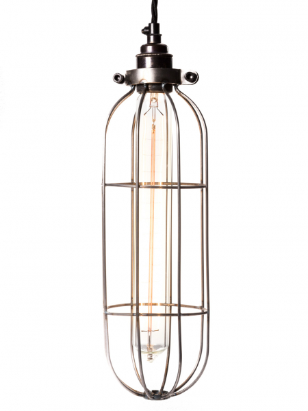 Long Tube Light Bulb Cage Raw Steel