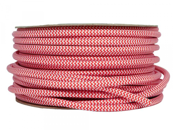 Red & White Fabric Power Cable 3 Core