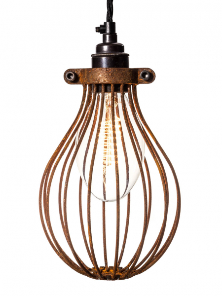Rusted Large Balloon Light Bulb Cage