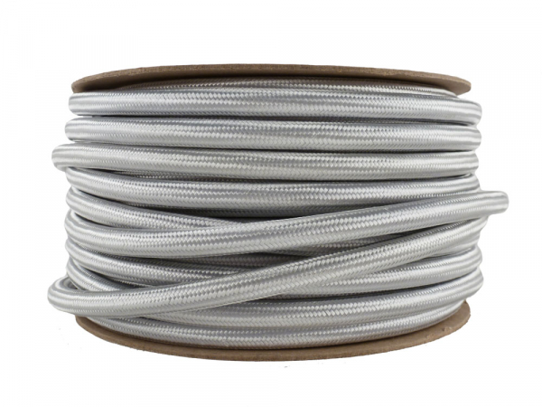 Silver Fabric Power Cable 3 Core