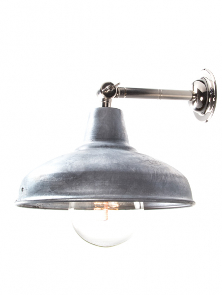 silver maria banjo wall light galvanised shade