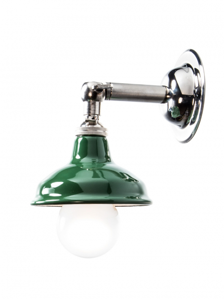 Silver Maria Sconce Wall Light with Green Shade