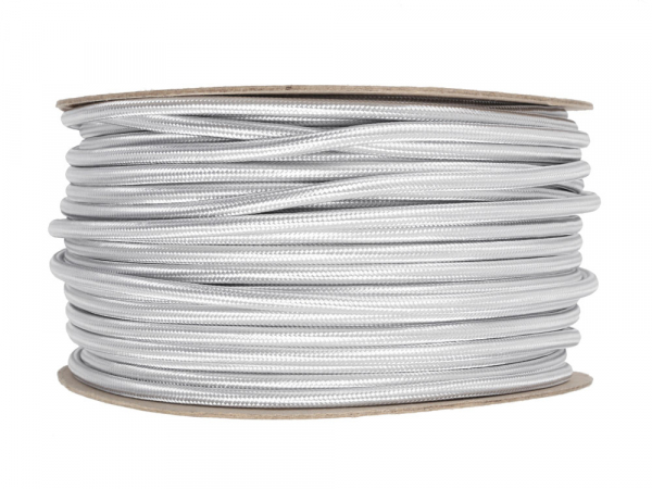 Silver Round Fabric Lighting Cable 3 Core