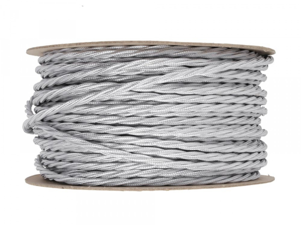 Silver Twisted Lighting Cable 3 Core