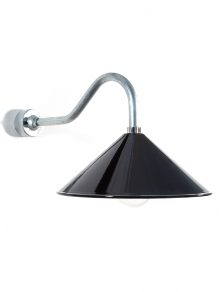 Swan Neck Wall Light Coolie Gloss Black Shade