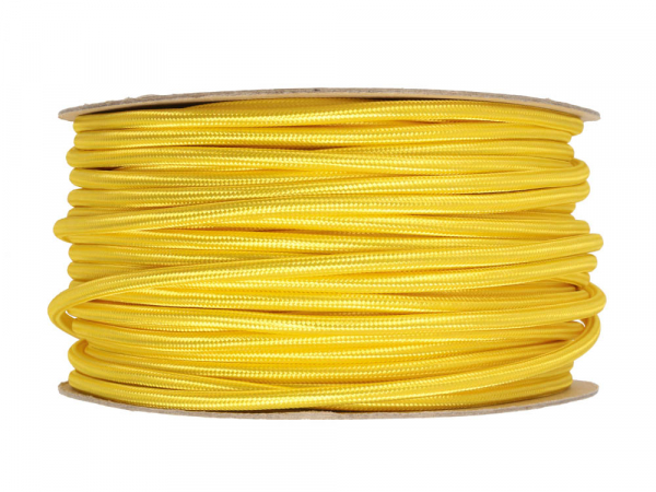 Yellow Round Fabric Lighting Cable 3 Core