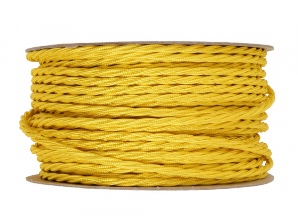 Yellow Twisted Lighting Cable 3 Core