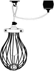 cage lamp shade suspended by lighting cable - loop drop