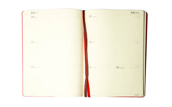 Leuchtturm Week to View Diary - Shown in Red