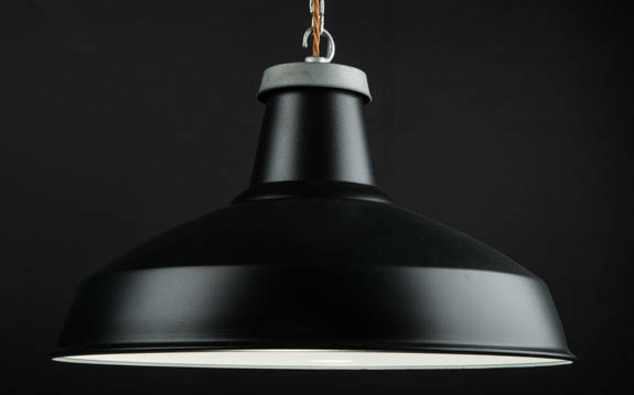 Matt Black Enamel Reflector Lamp Shade | 500mm