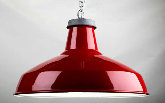 Red Enamel Reflector Lamp Shade | 500mm