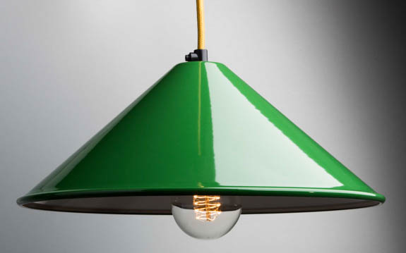 green enamel coolie lamp shade