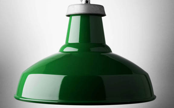 green enamel industrial lamp shade