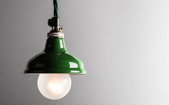 green enamel miniature lamp shade