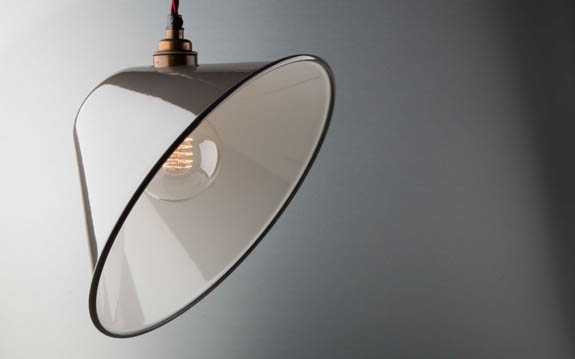 grey enamel angled lamp shade
