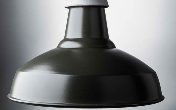 matt black enamel industrial lamp shade