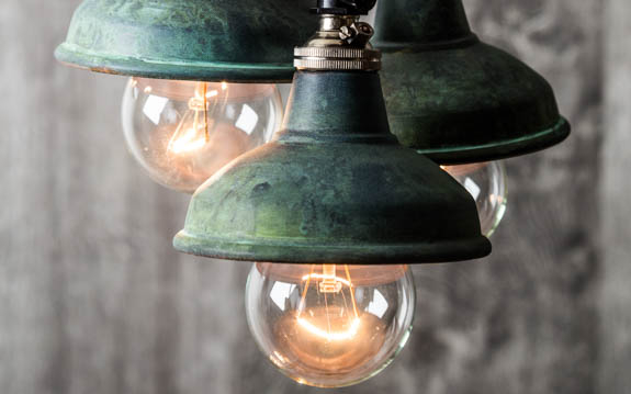 Verdigris copper miniature lamp shade