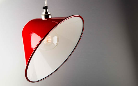 red enamel angled lamp shade