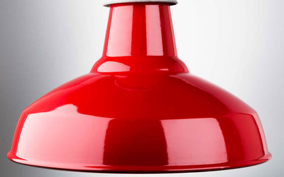 red enamel industrial lamp shade