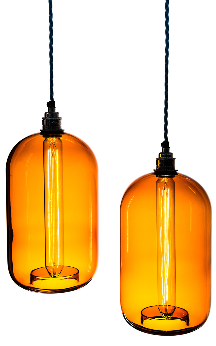 two amber glass cylinder shade pendants  sc 1 st  Urban Cottage Industries & Glass Lamp Shades | Pendant Light Shades | Factorylux