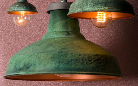 Miniature verdigris copper lamp shade